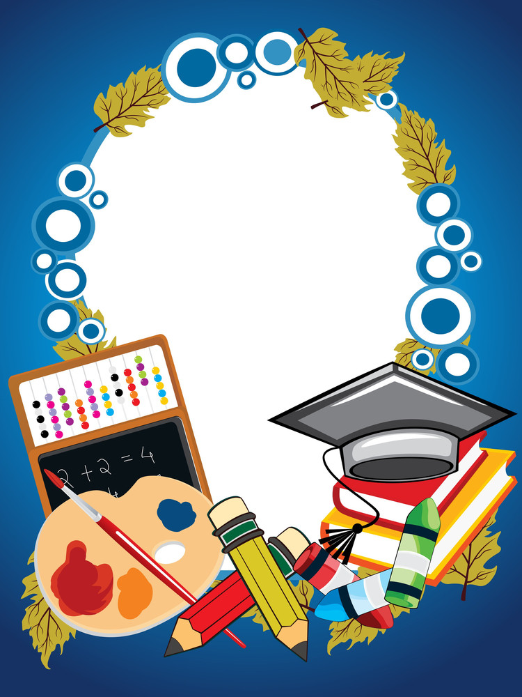 Background With Collection Of Education Supplies