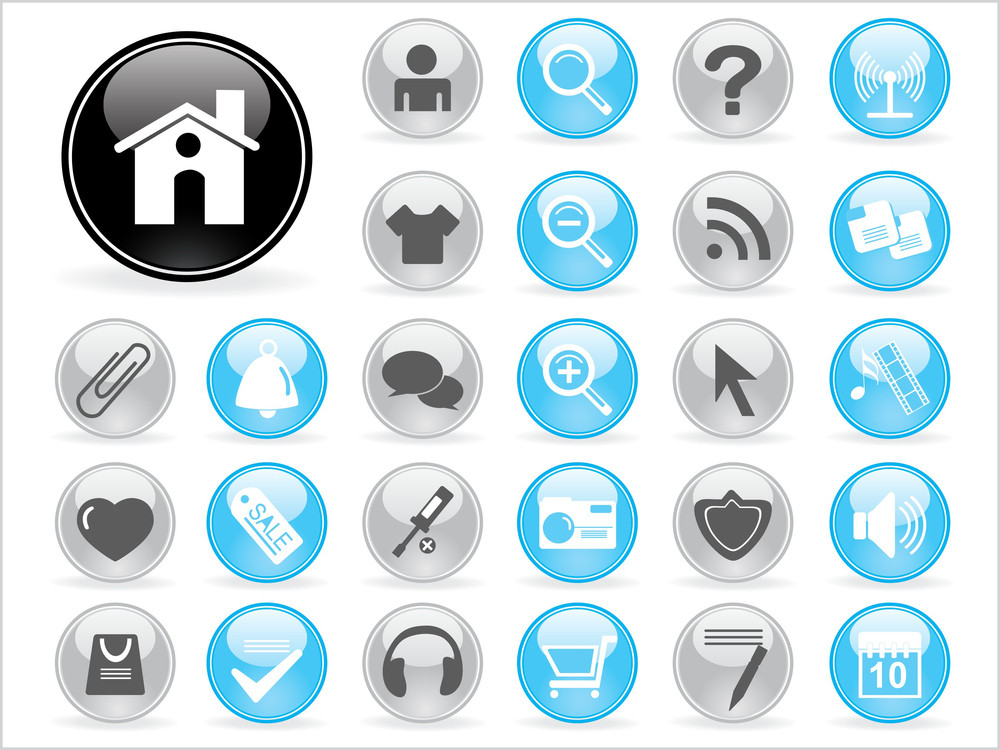 Background With Collection Of Web Icons