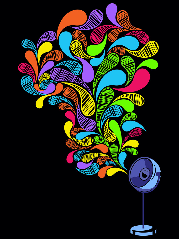 Background With Colorful Artwork Decorated Speaker