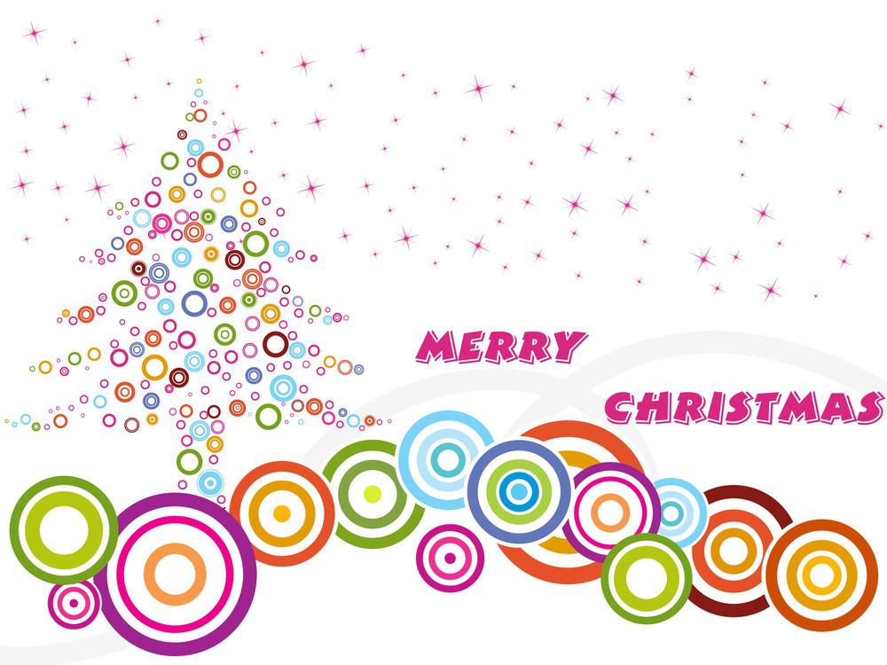Background With Colorful Circle Pattern Xmas Tree