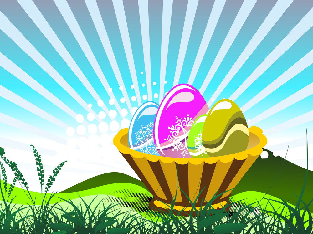 Background With Colorful Decorated Egg In Basket