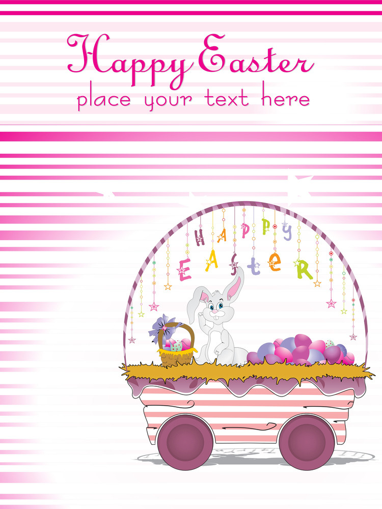 Background With Colorful Egg Tolly In Rabbit