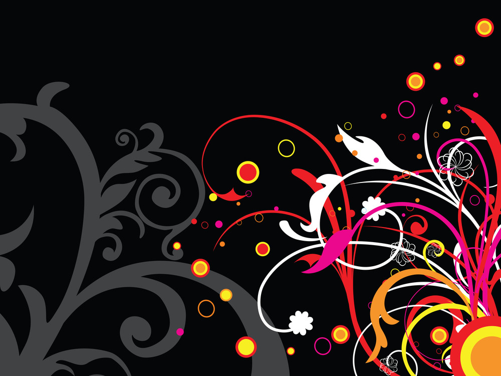 Background With Colorful Floral Illustration