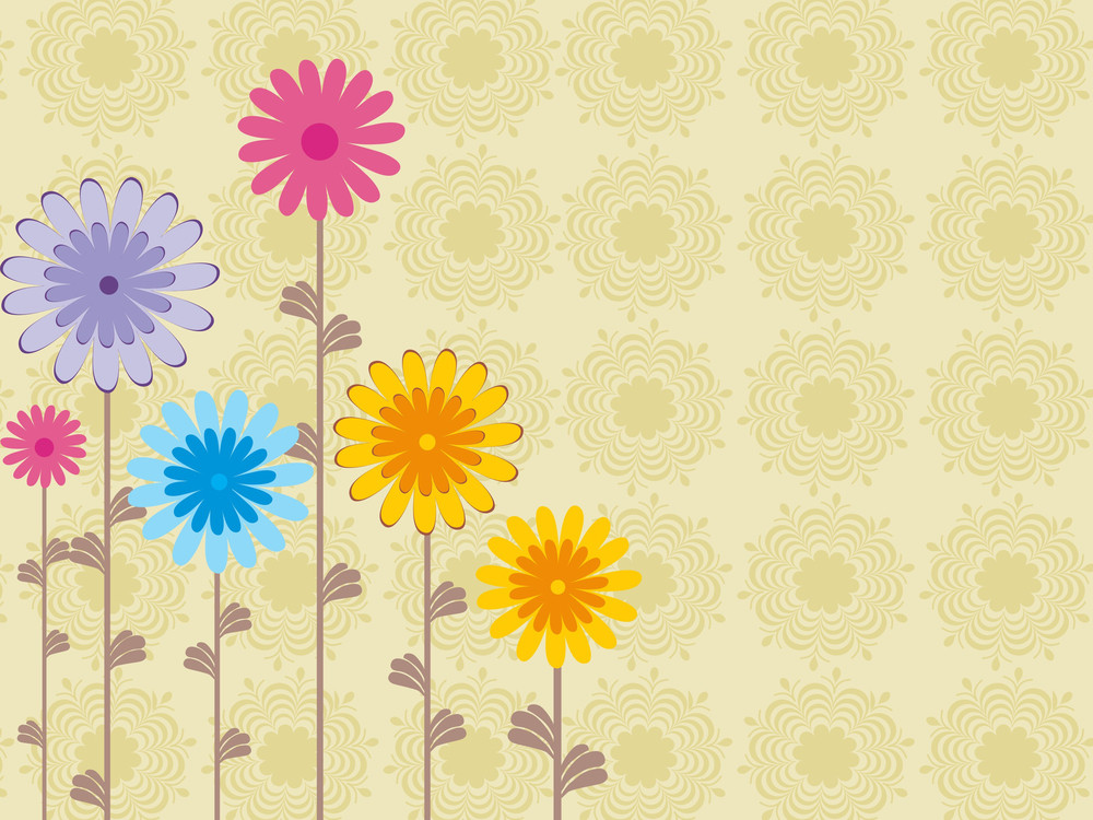 Background With Colorful Flower