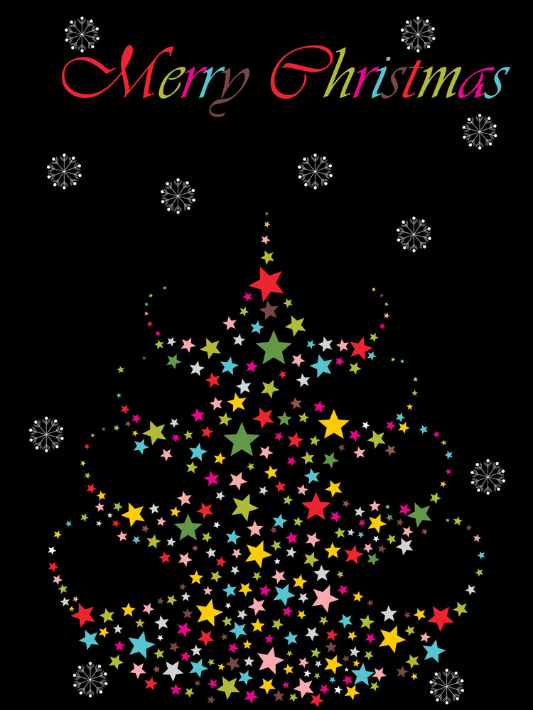 Background With Colorful Star Pattern Xmas Tree