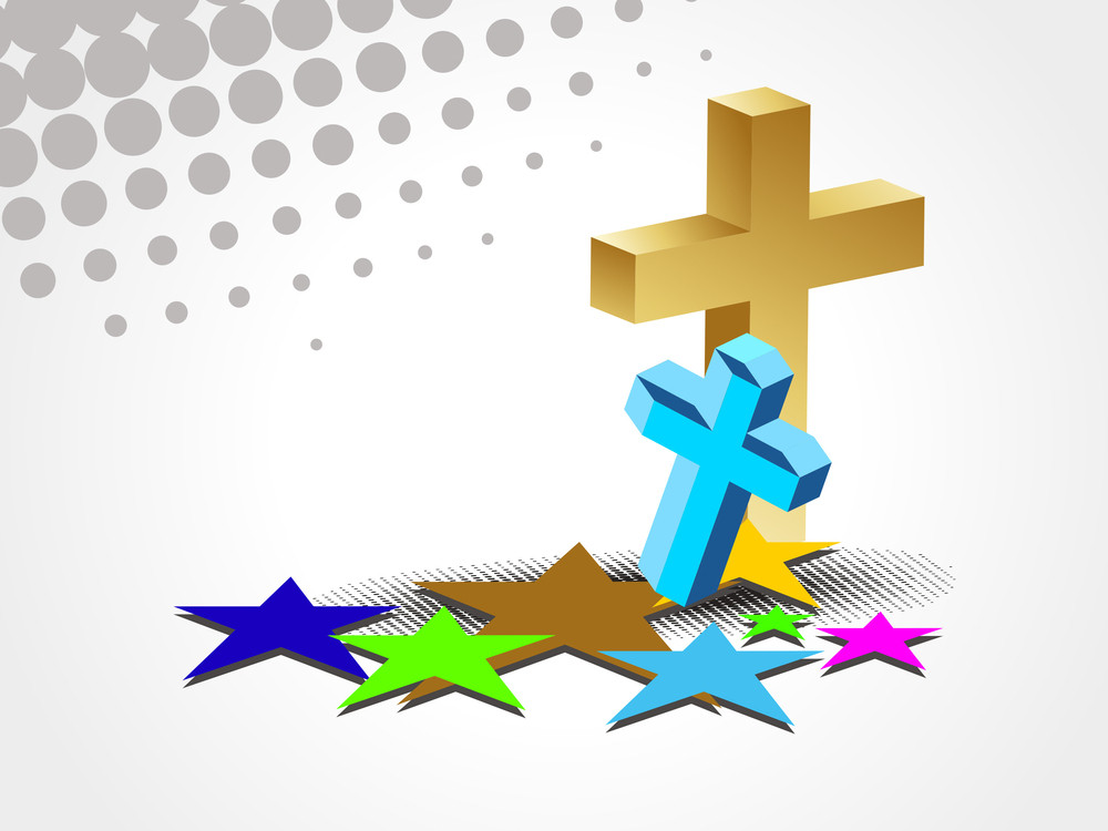 Background With Colorful Stars And Cross