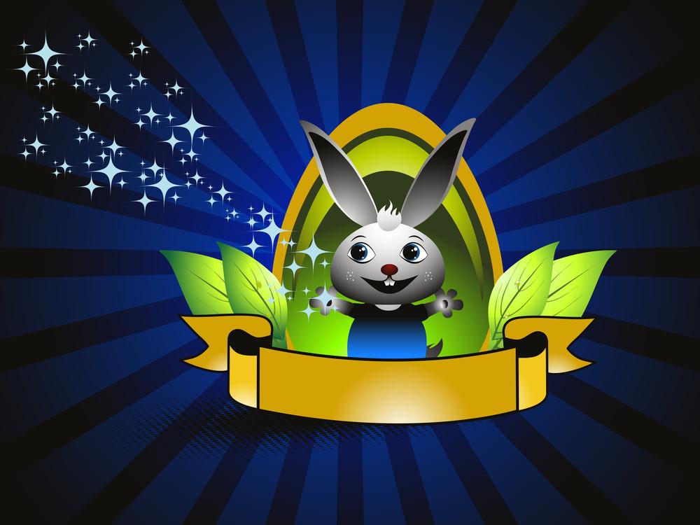 Background With Cute Cartoon Rabbit