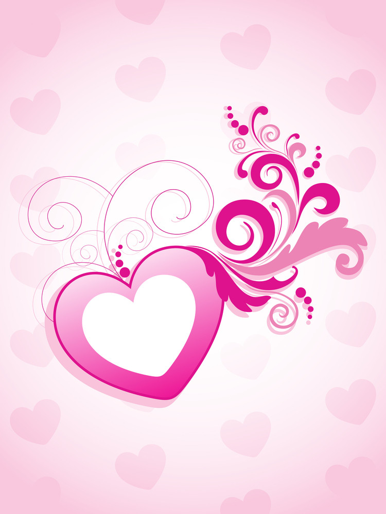 Background With Decorated Pink Heart