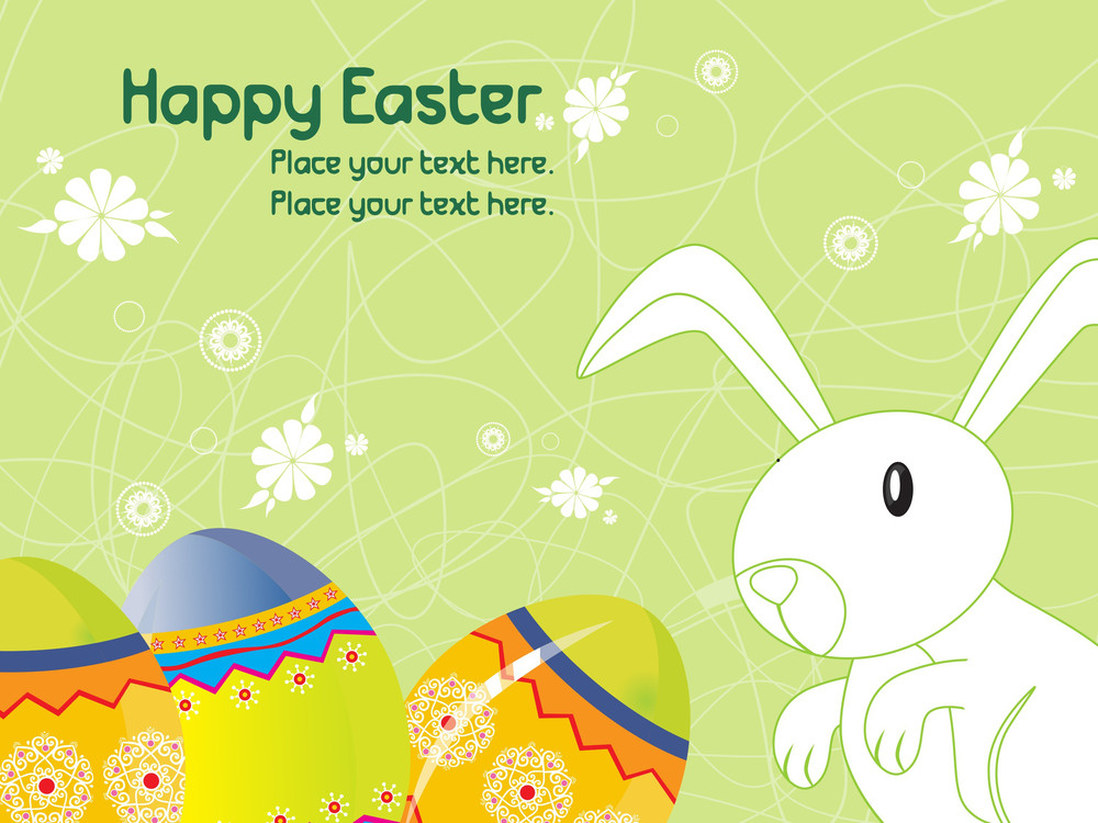 Background With Egg And Rabbit