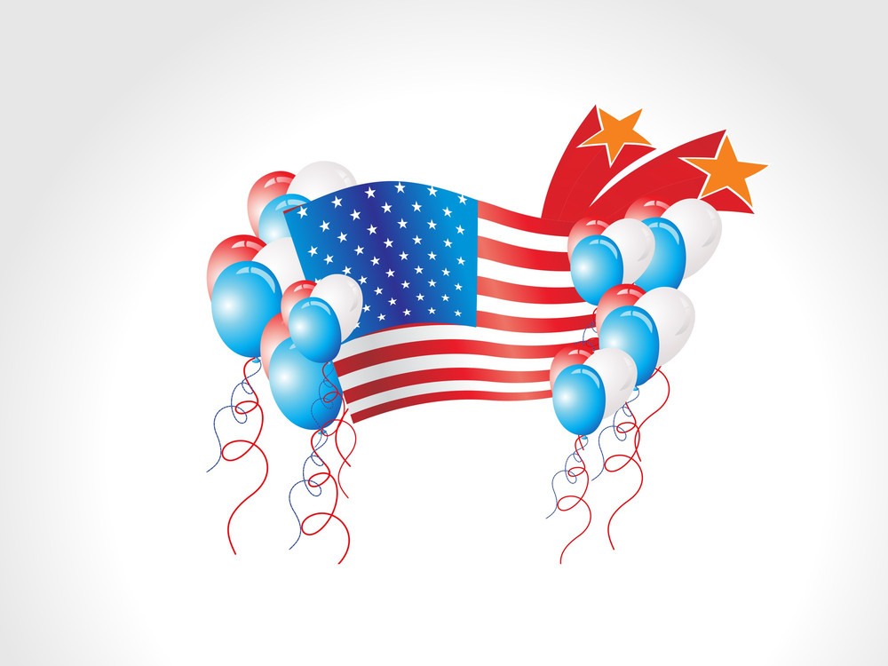 Background With Flag And Balloons