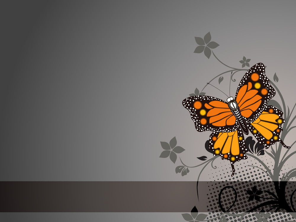 Background With Floral And Butterfly