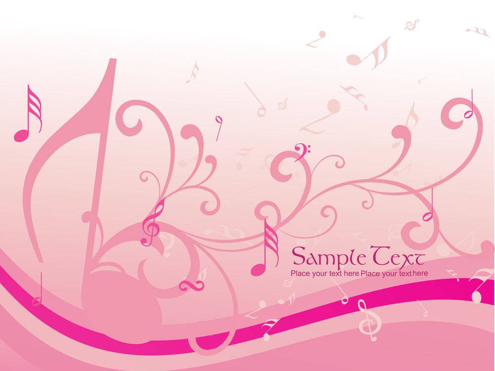 Background With Floral And Musical Notes