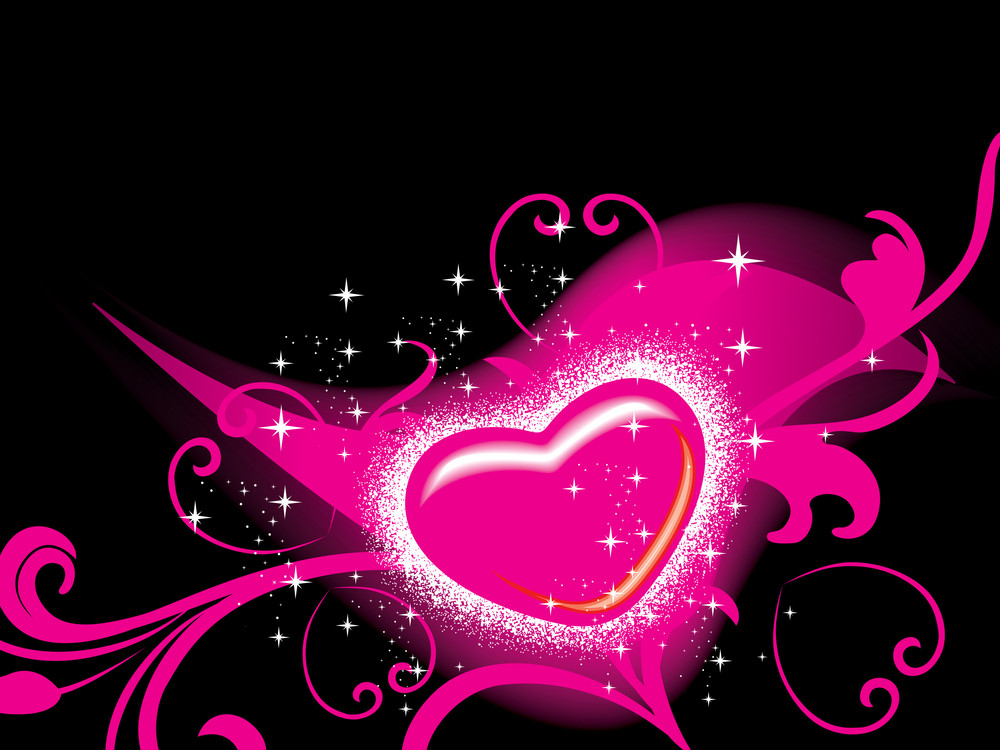 Background With Floral Decorated Heart