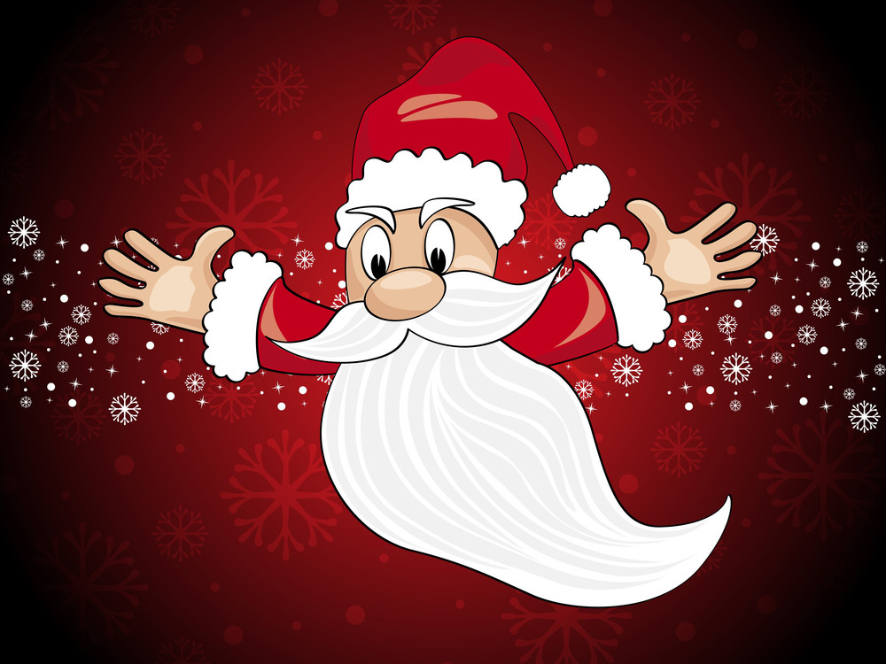Background With Flying Santa Claus