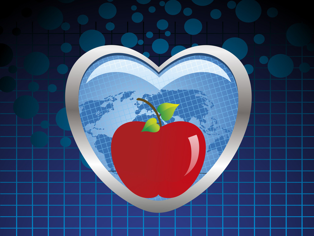 Background With Fresh Red Apples In Blue Heart