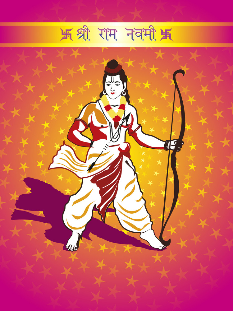 Background With God Rama Holding Arrow And Bow