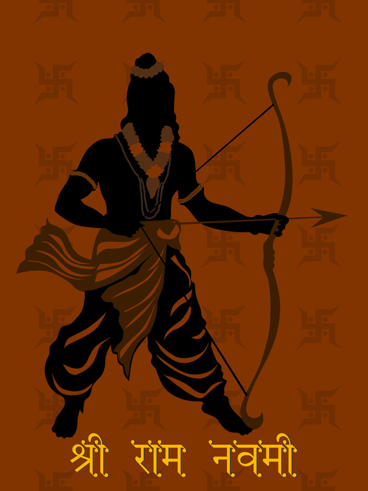 Background With God Rama Silhouette