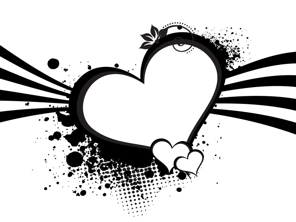 Background With Grungy Black Heart