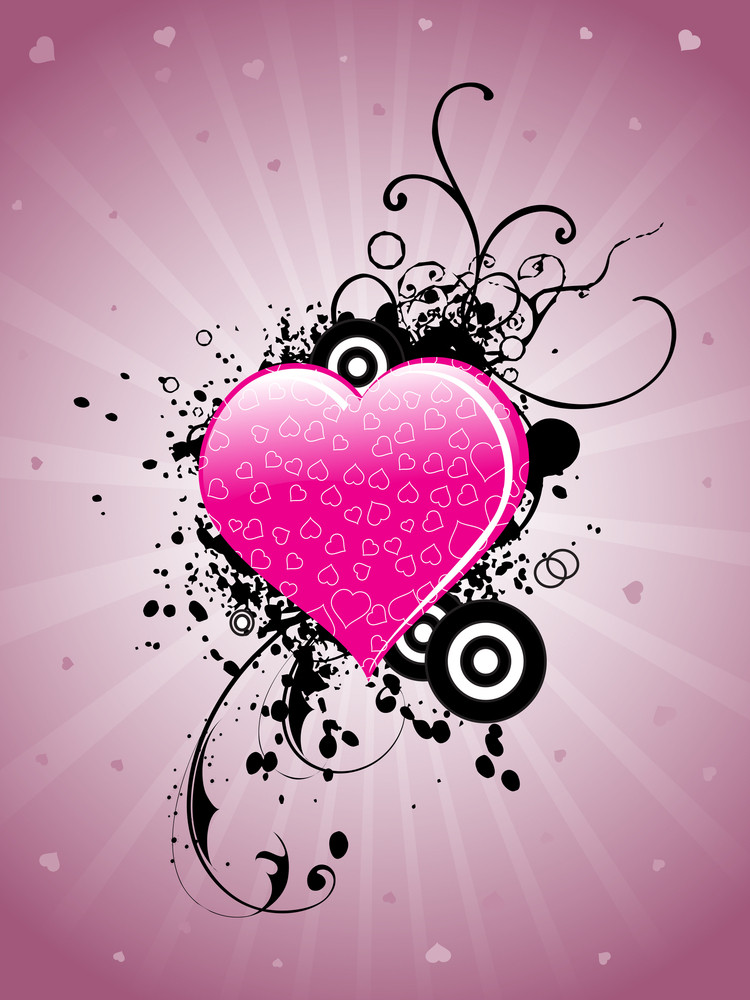 Background With Grungy Decorated Heart