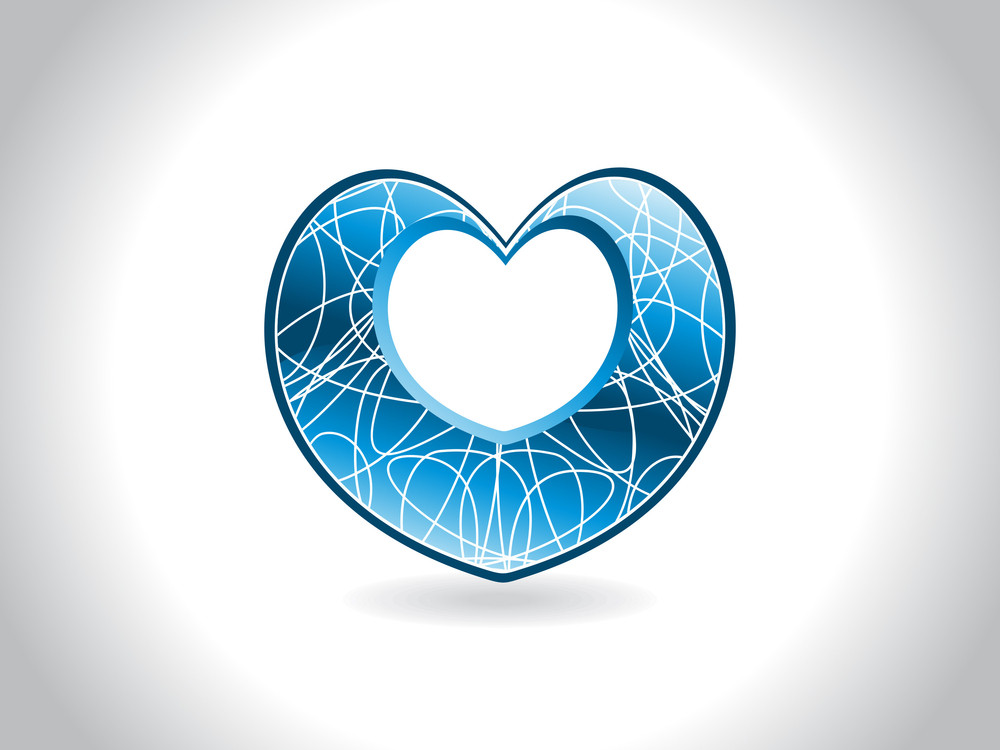 Background With Isolated  Blue Heart
