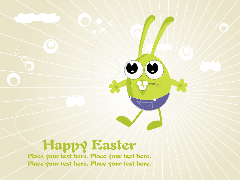 Background With Isolated Cute Cartoon Egg