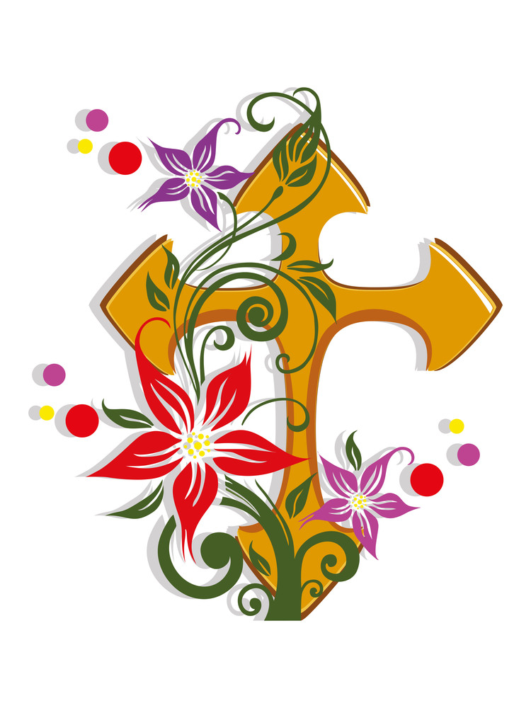 Background With Isolated Floral Decorated Cross