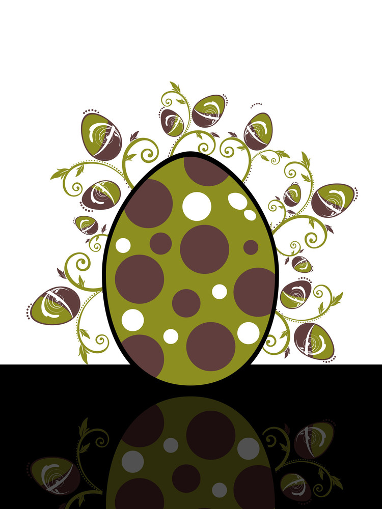 Background With Isolated Floral Decorated Egg