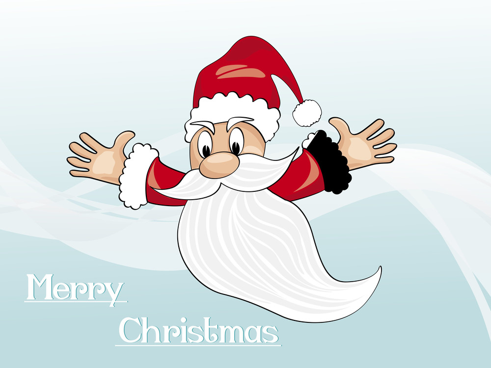 Background With Isolated Flying Santa Claus