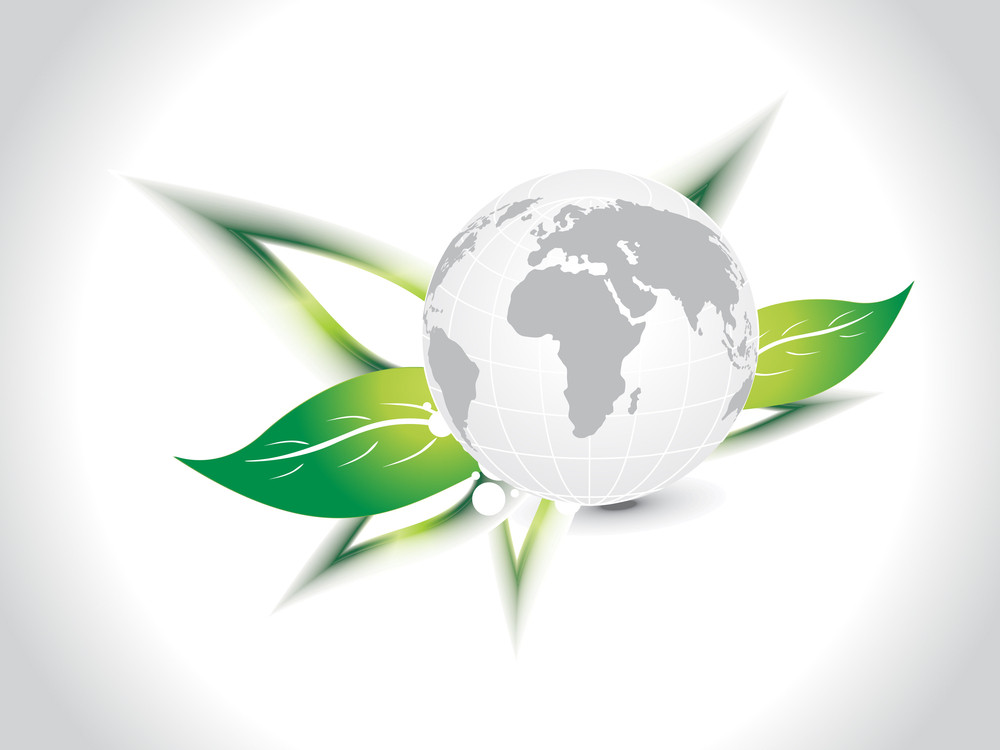 Background With Isolated Globe On Green Leaf
