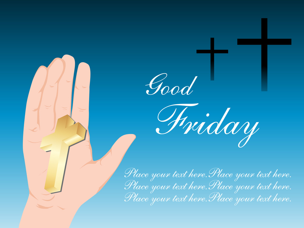 Background With Isolated Golden Cross On Hand