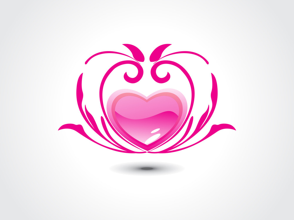 Background With Isolated Romantic Pink Heart