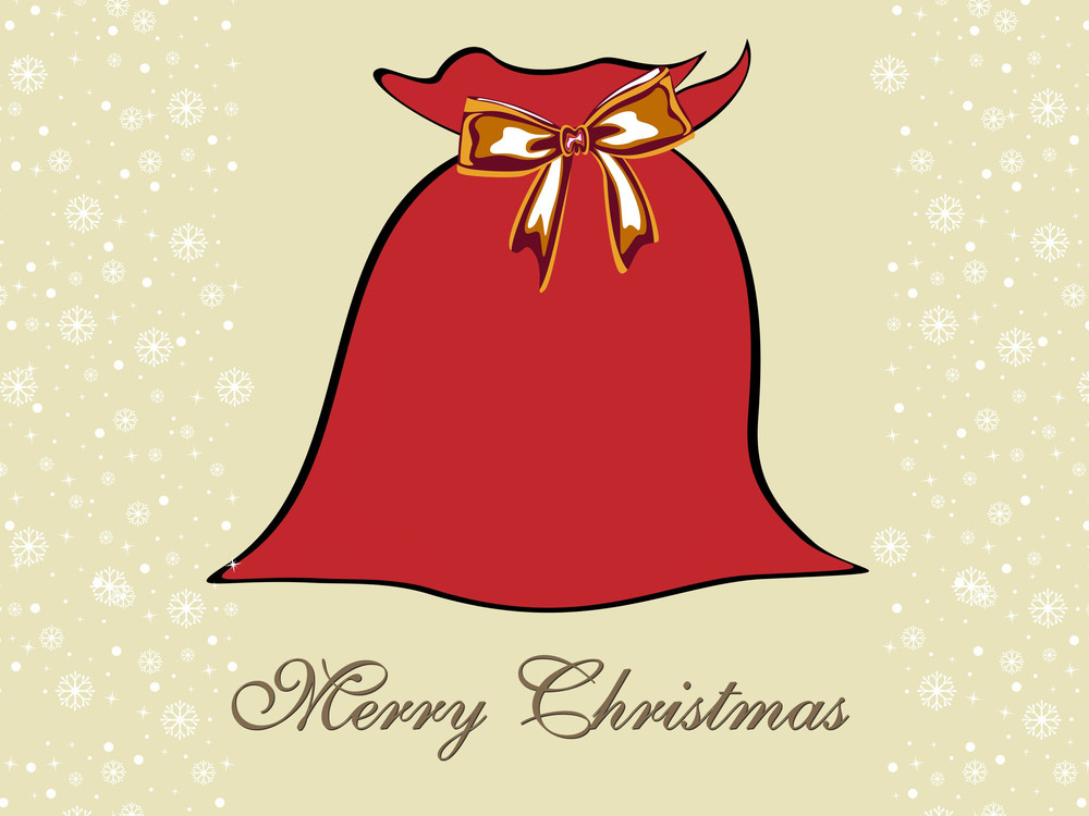 Background With Isolated Santa Gift Bag