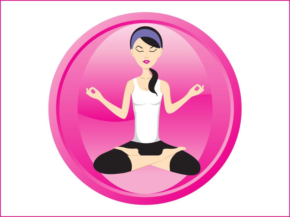Background With Isolated Yoga Icons