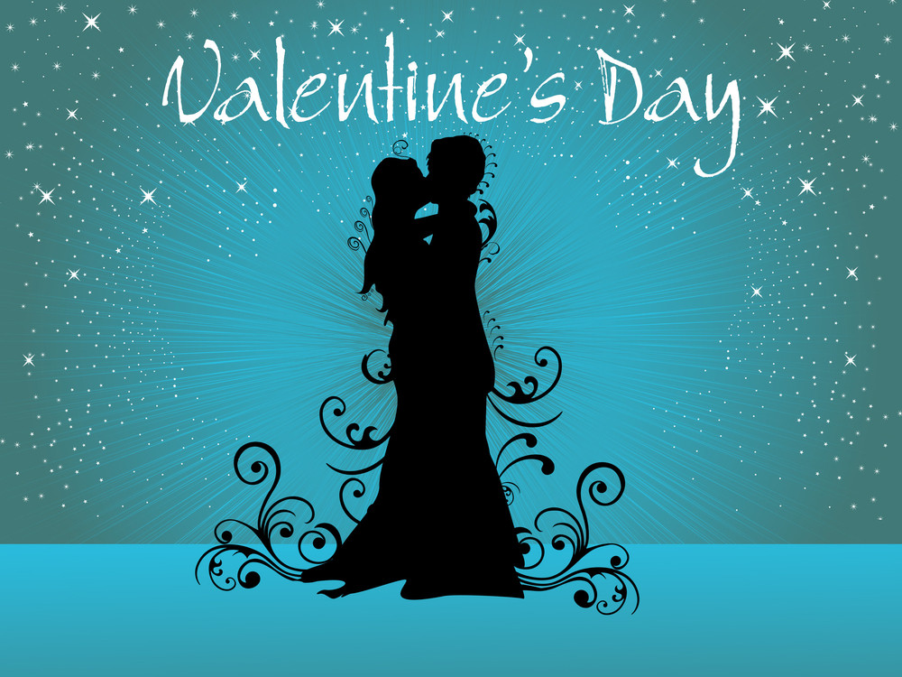 Background With Kissing Couple Silhouette