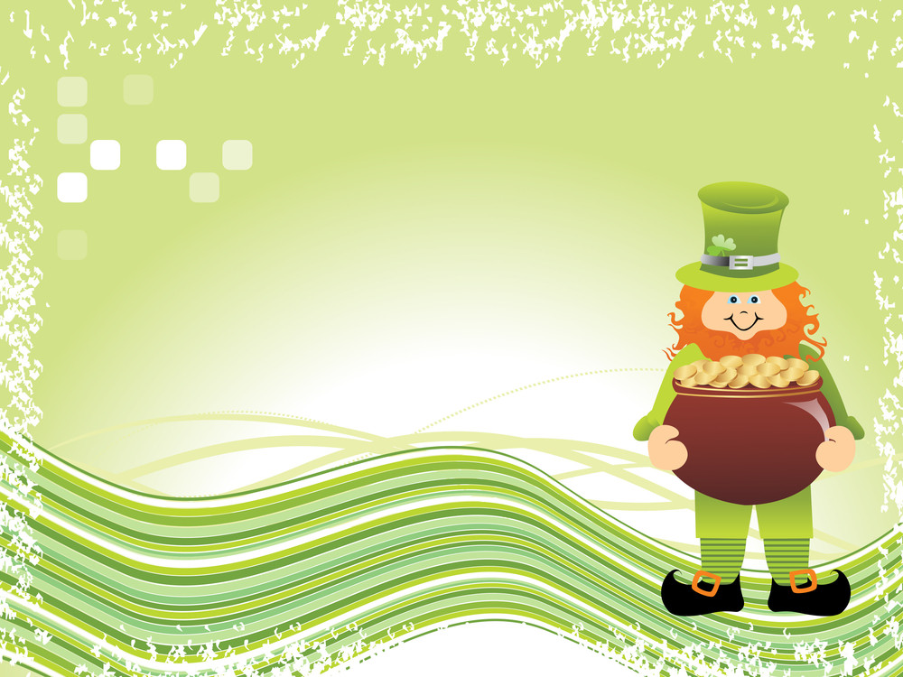 Background With Leprechaun Holding Pot