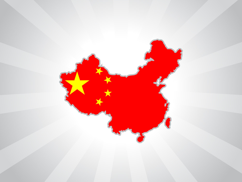 Background With Map In China Flag