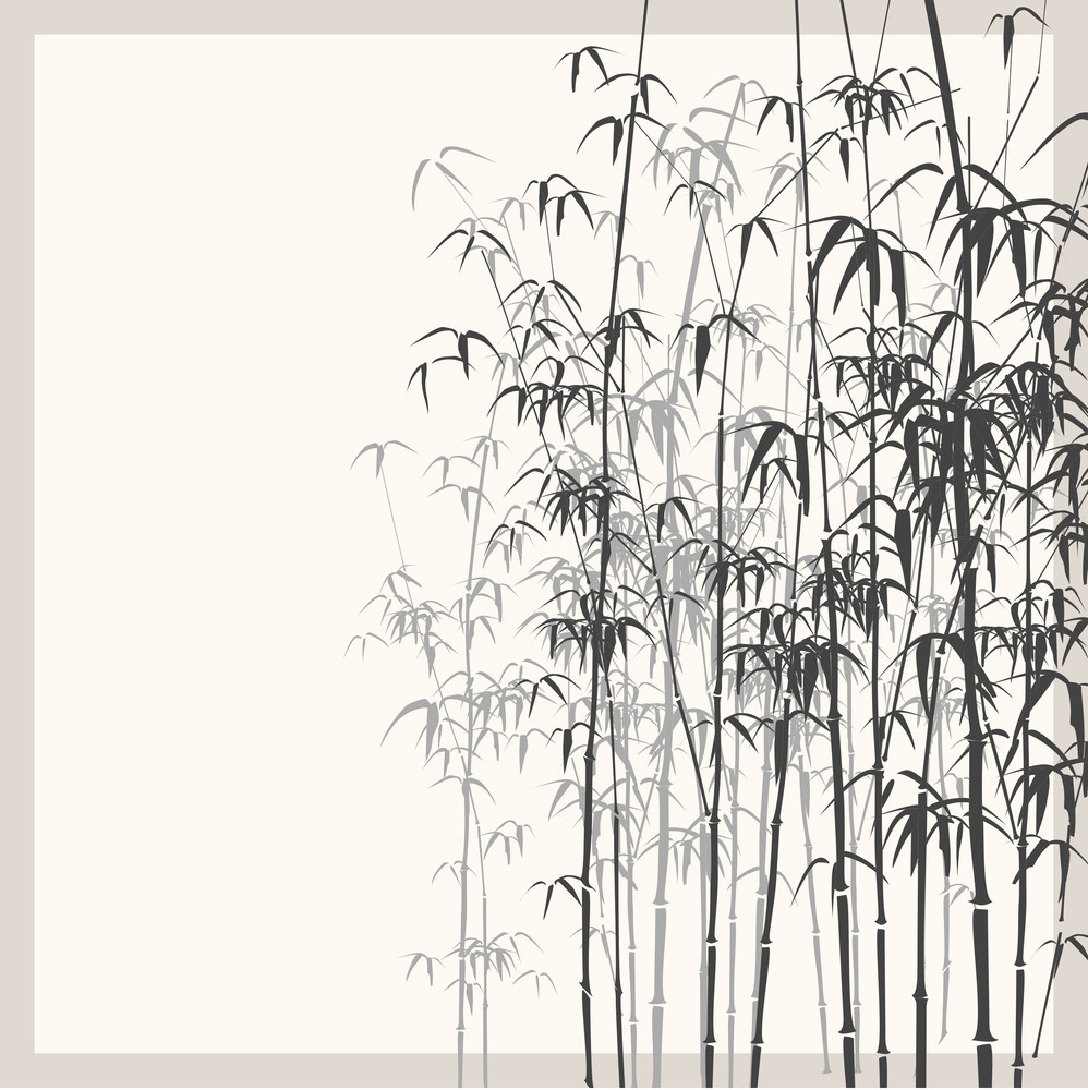 Background With Monochrome Bamboo. Vector Illustration.