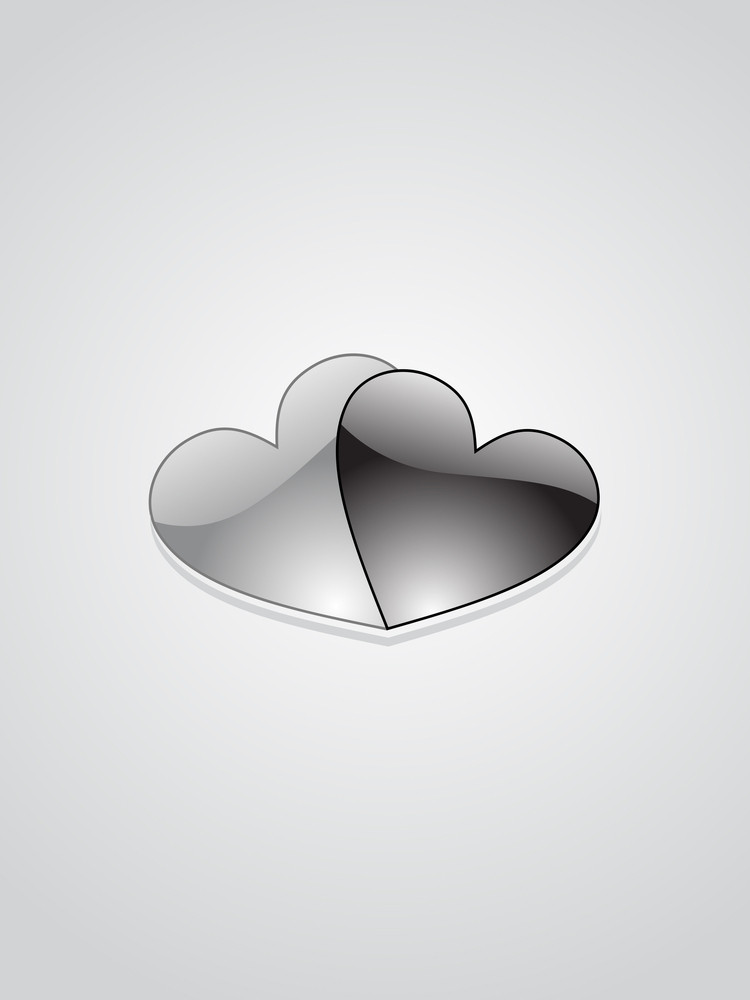 Background With Pair Of Glossy Black Heart