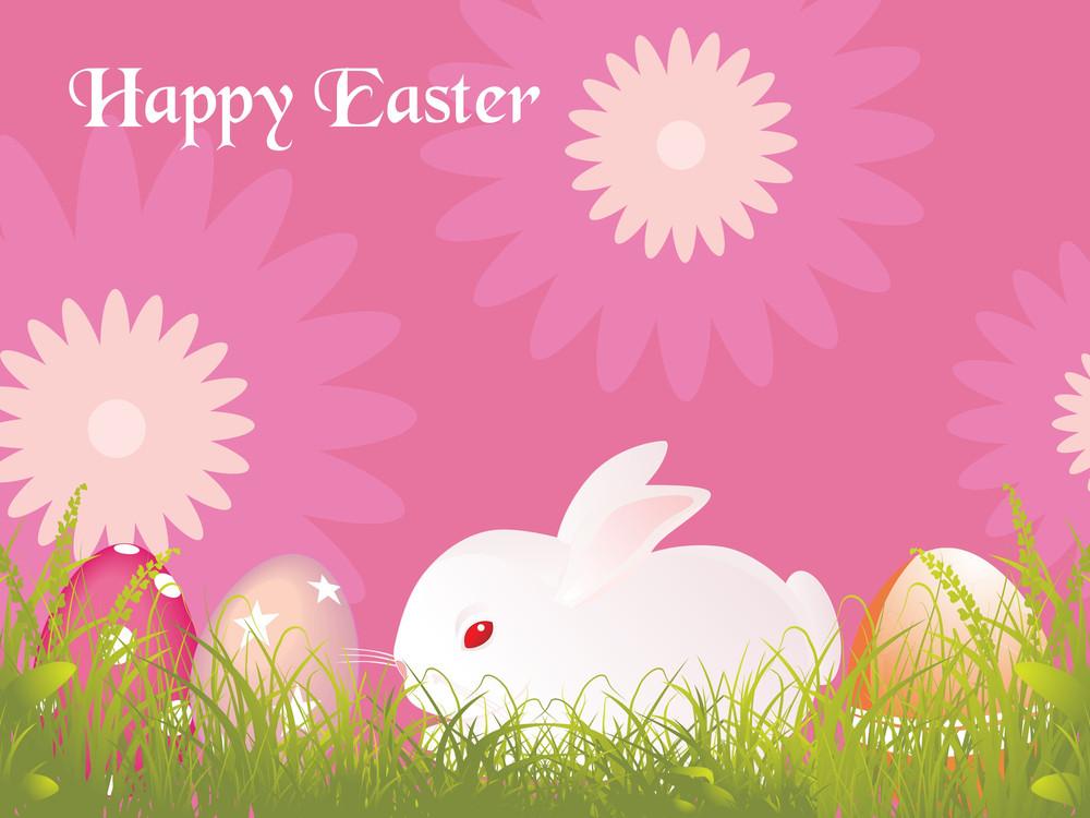 Background With Rabbit In Garden