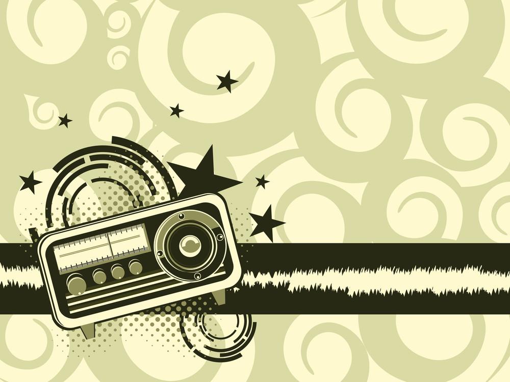Background With Retro Audio Tape Recorder