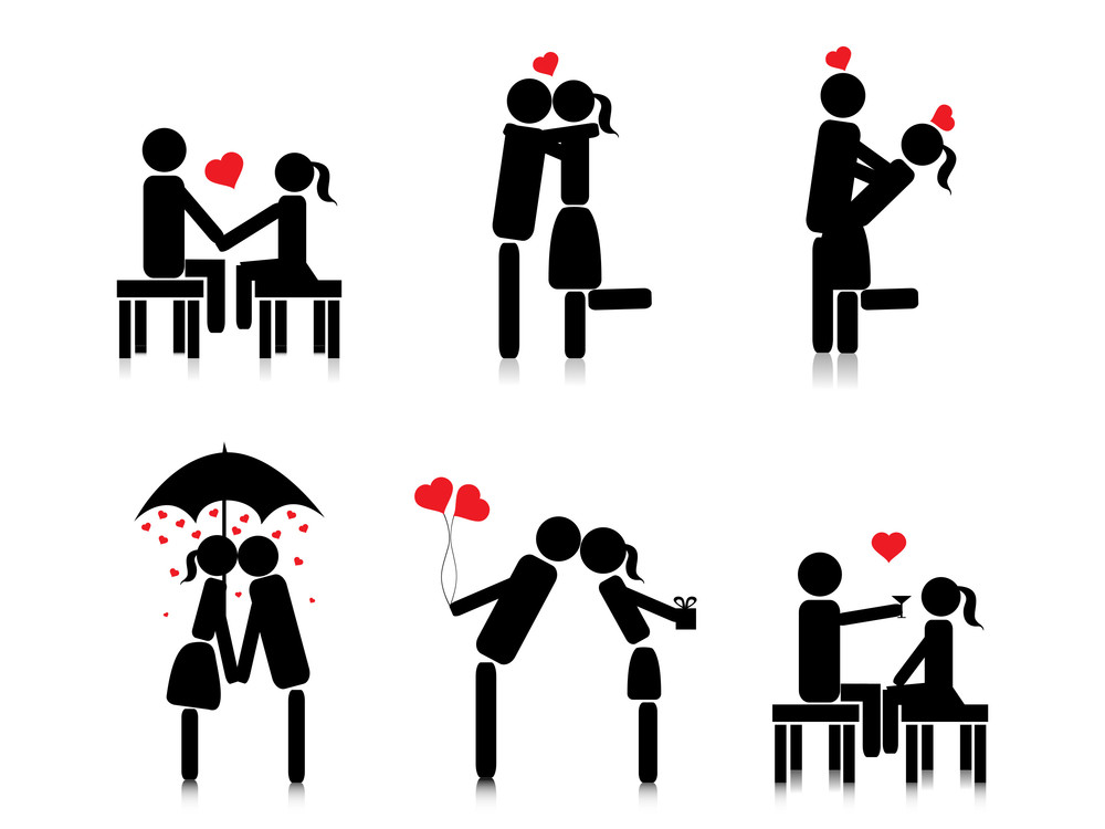 Background With Romantic Couple Silhouette