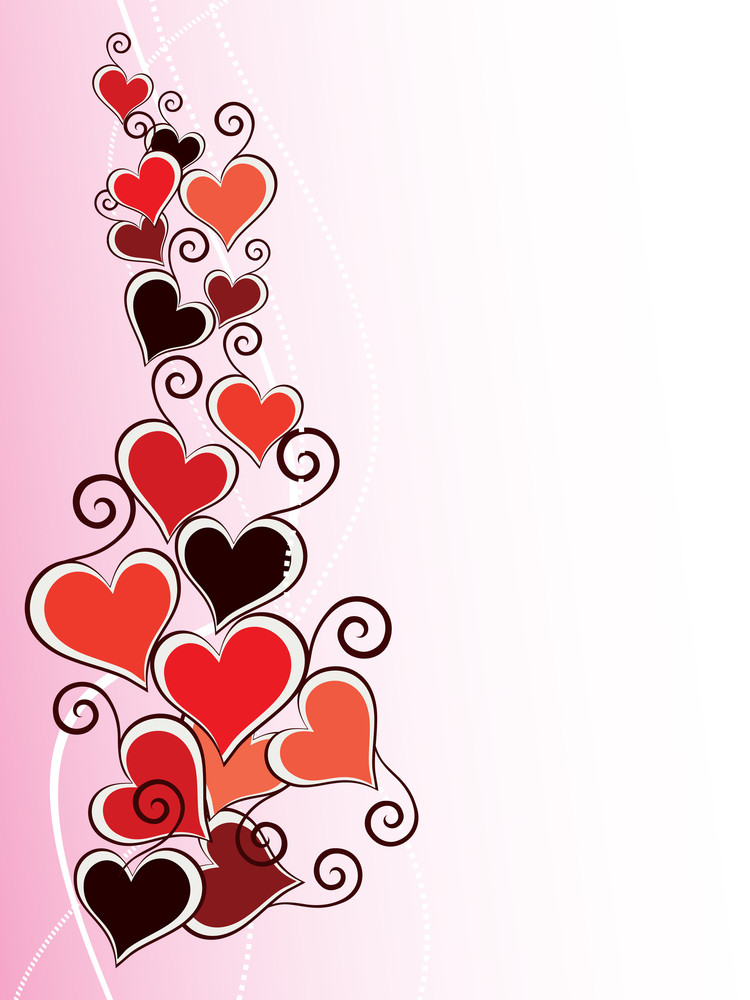 Background With Romantic Hearts