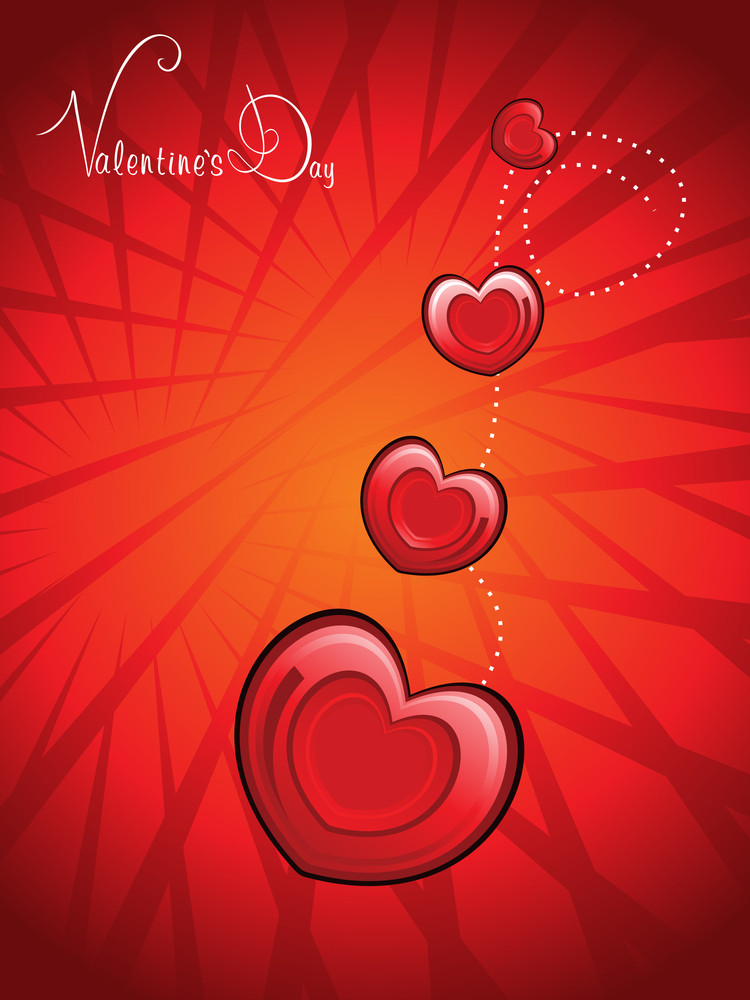 Background With Romantic Red Hearts