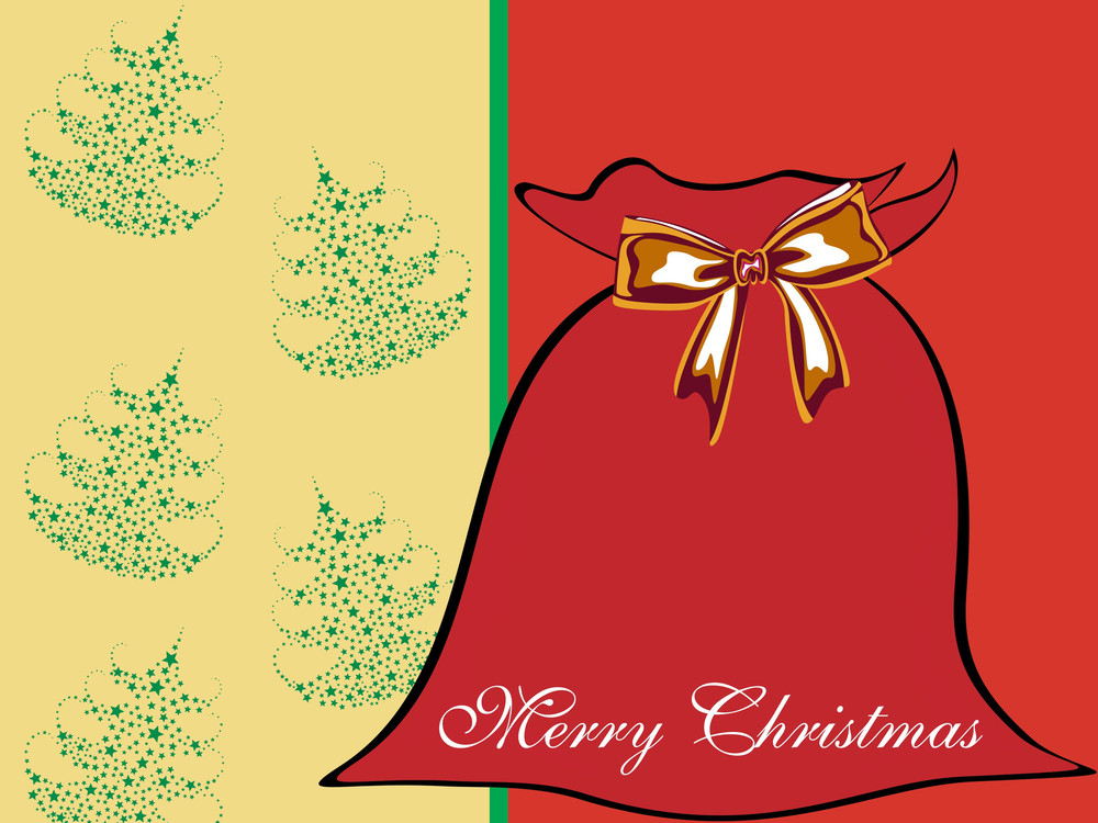 Background With Santa Gift Bag