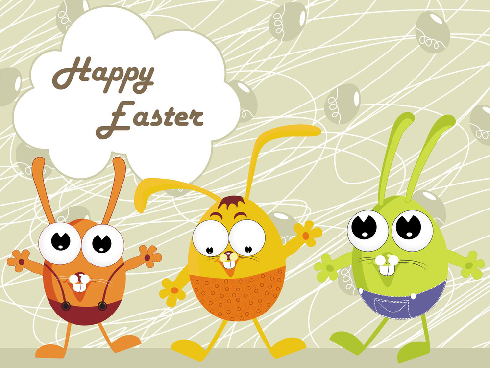 Background With Set Of Cartoon Egg