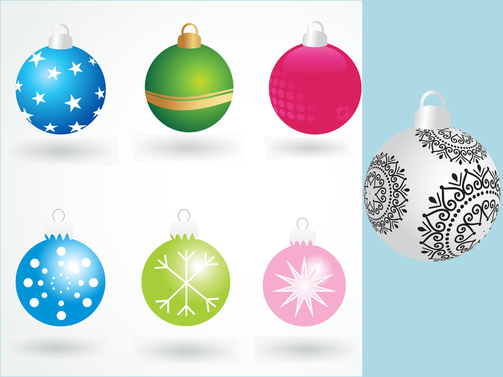 Background With Set Of Colorful Xmas Ball