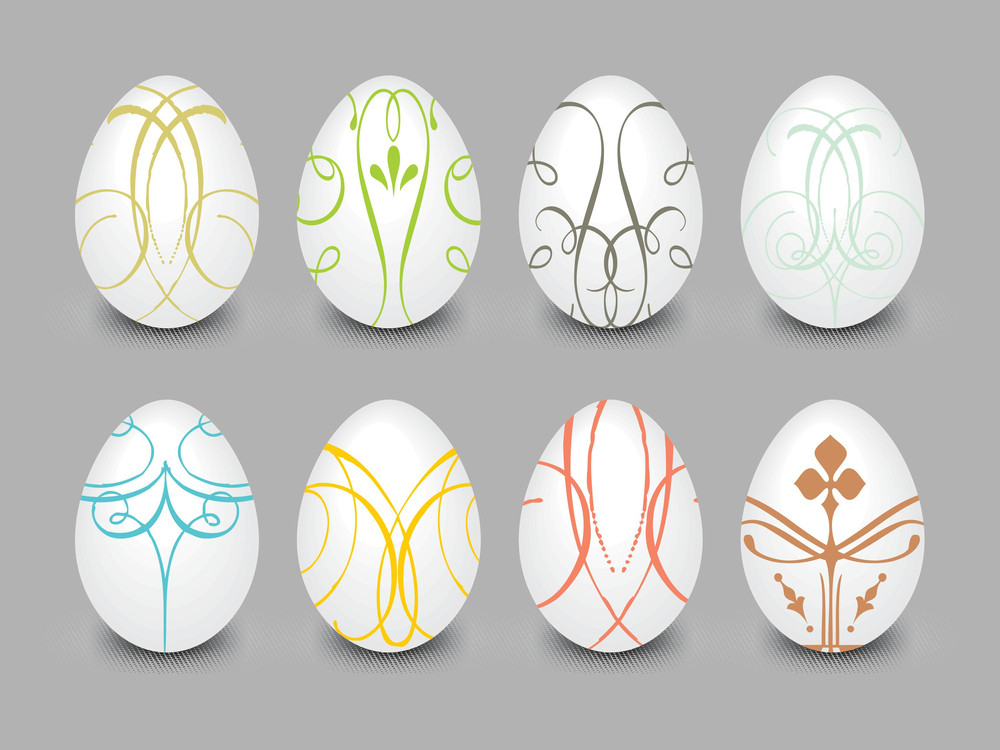 Background With Set Of Egg