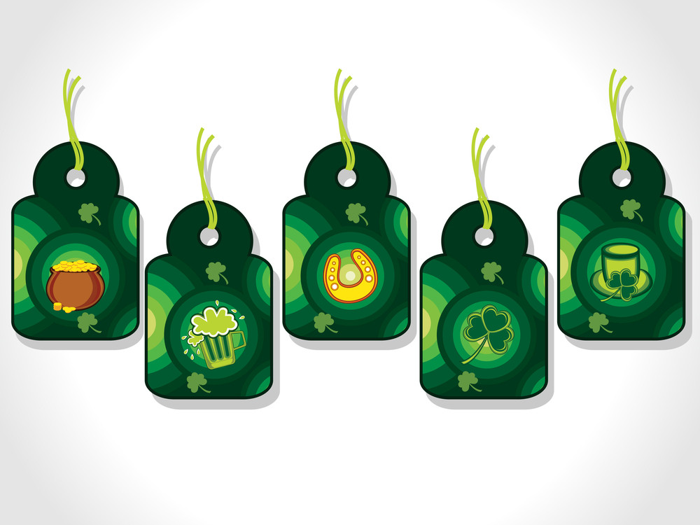 Background With Set Of Five St Patricks Day Tag