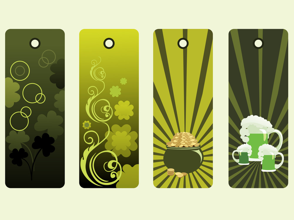 Background With Set Of Four Patrick Day Tag