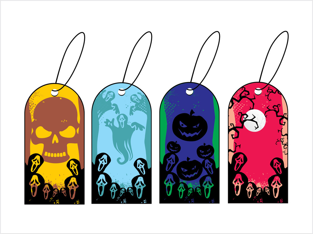 Background With Set Of Halloween Tag